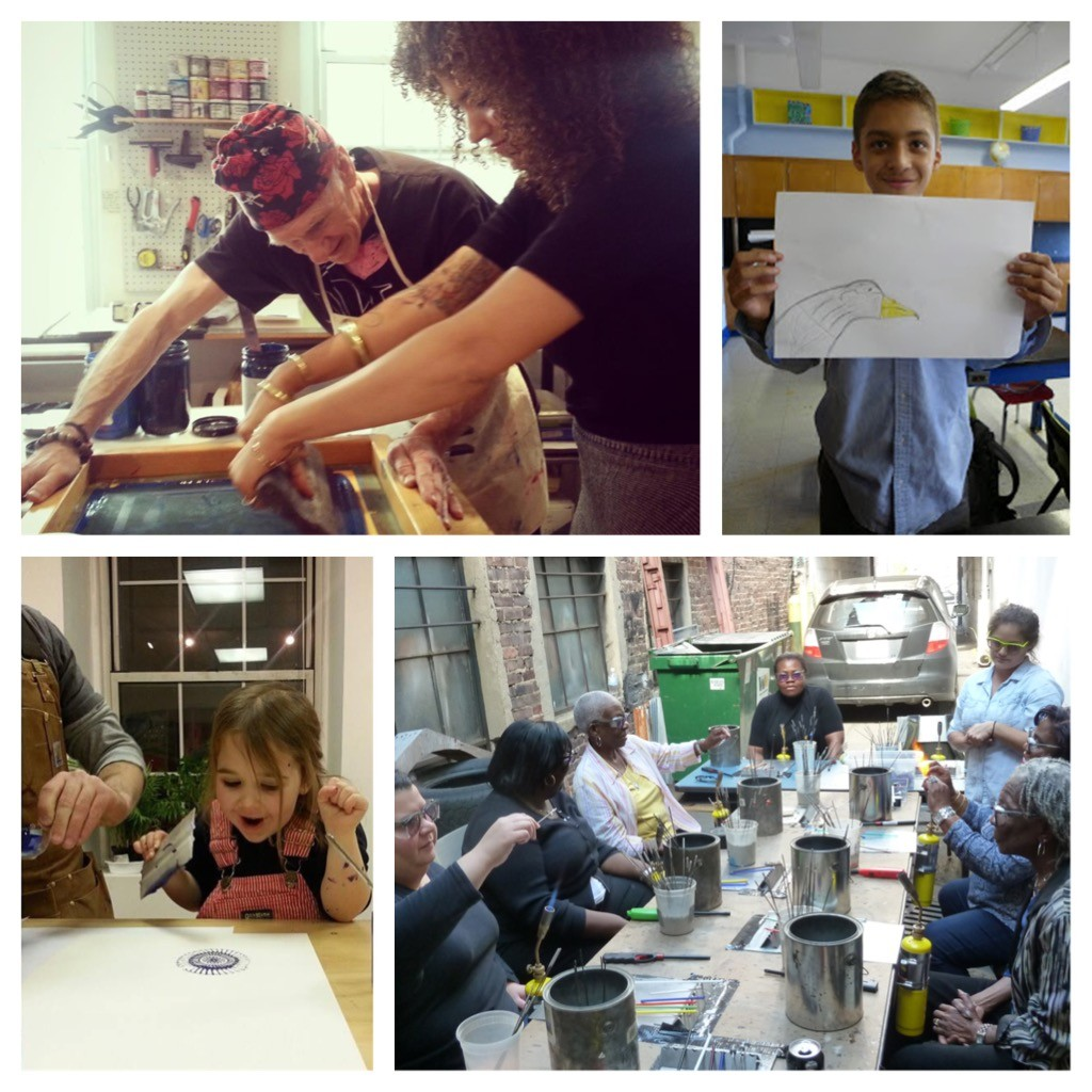 "Image credits: Newark Print Shop ""Open Studios"" '14-'15 grantee (top and bottom left); Barat Foundation ""Murals at Eagle Academy"" '14-'15 grantee (top right); GlassRoots ""Hot Shop in the Park"" '14-'15 grantee (bottom right)"